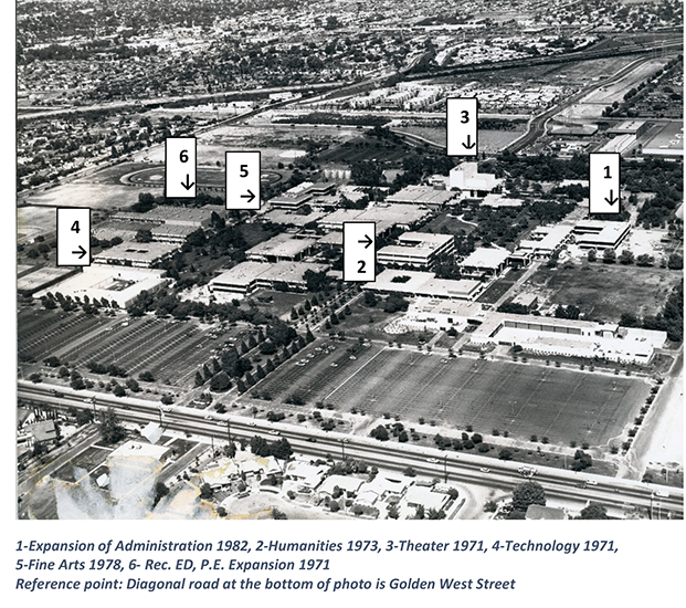Aerial view of campus in 1982